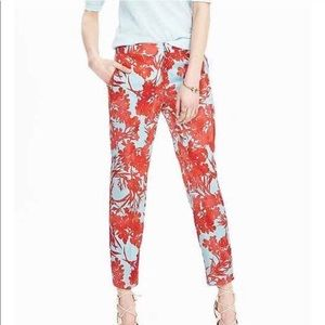 NWT Banana Republic Coral Red & Blue Avery Pants